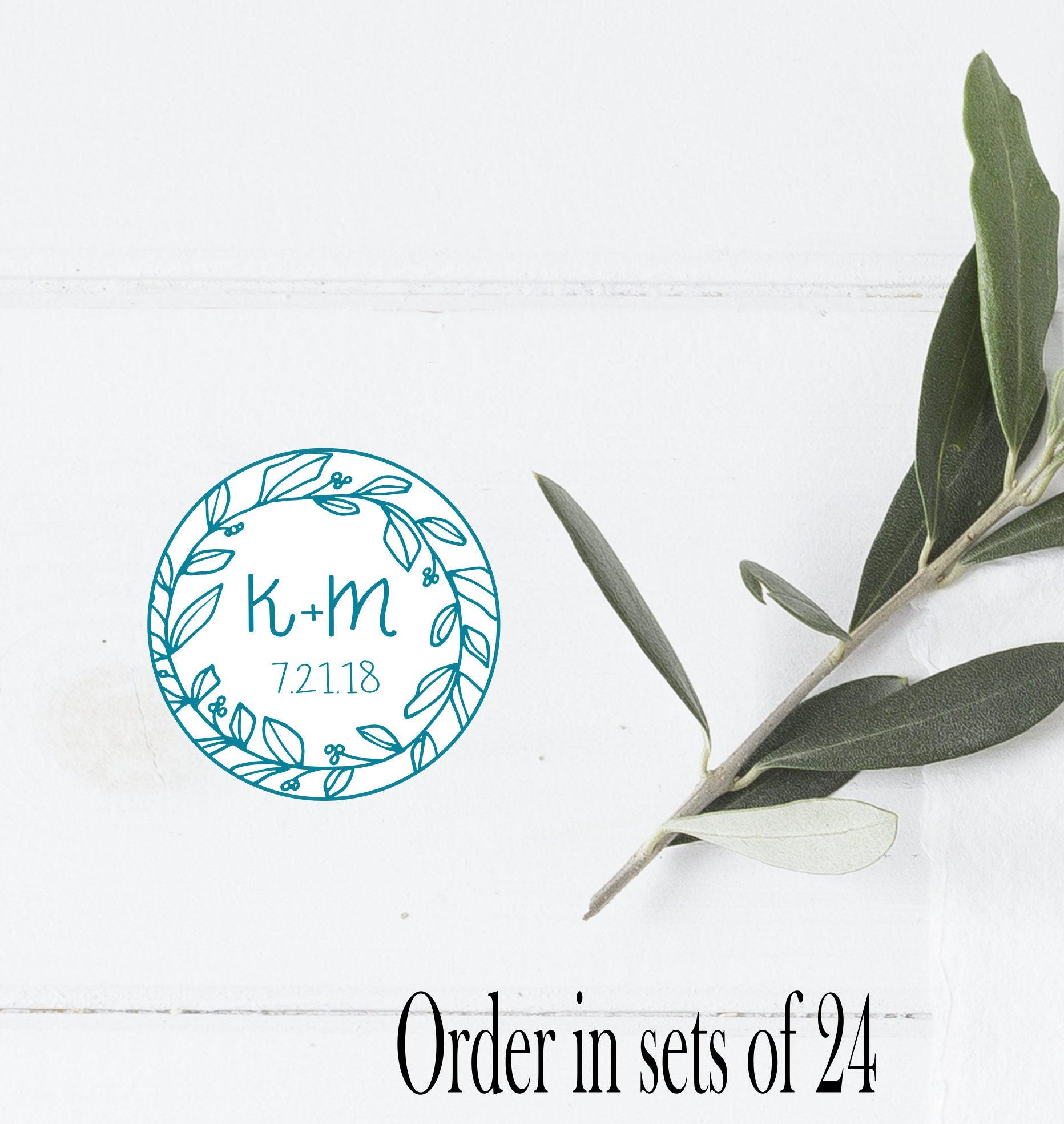 Wedding Favors Sticker Laurel Wreath Initials Wedding