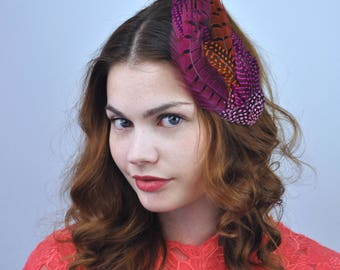 Feather Hair Clip Fascinator in Pink and Orange | Feather Fascinator | Feather Headpiece | Pink Fascinator | Orange Fascinator | Festival