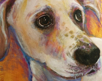 Custom Pet Portraits-Hand Painted Original Pet Painting on Canvas of your Pet, send me a Pic and I will Paint It- Meet Whitney and Friends!