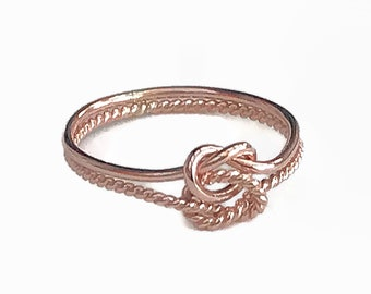 Rose gold double knot ring, rose gold, Love knot ring, promise ring, minamalist rings, thin ring, rose gold rope ring