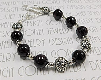 Red Garnet Bracelet (Agatha) by Gonet Jewelry Design