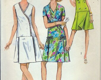 """Vintage 1970 Simplicity 8849 Retro Pantdress in Half Sizes Sewing Pattern Size 18 1/2 Bust 41"""""""