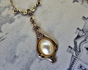 Pearl Neckalce ~ Small ~ Art Deco ~ Vintage Glass ~ Pearl Pendant ~ June Birthstone ~ Bronze ~ by LadyofTheLakeJewels