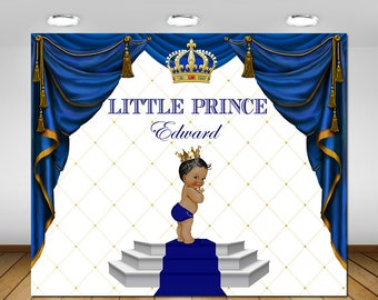 Royal blue and gold, little prince, backdrop
