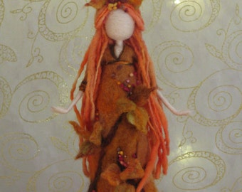 Fairy Needle felted doll Waldorf inspired Autumn Fall Fairy Art doll Nature table decoration Felted fairy