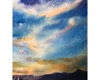 Original Watercolor Painting Landscape Starry Sky Watercolor Painting Mountain Landscape Original Painting 8x10 wall art