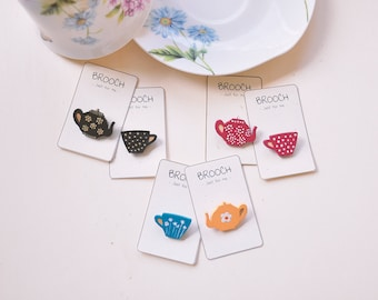 Mini Wooden Laser Cut Tea Cup and Kettle Brooches