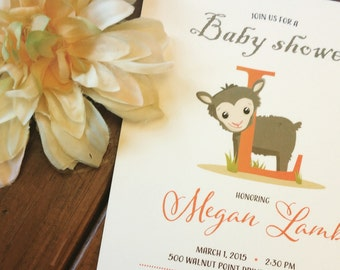 PRINTED L is for Lamb Shower invitation, lot of 25