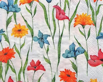 3 colorful flowers paper napkins