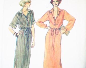 Vintage 1980s Vogue 7049 Pullover Blouson Dress Size 12 Bust 34 - extended shoulders, button front, drawstring waist, side slits, below knee