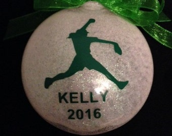 Personalized Fast Pitch Softball Glitter Christmas Ornament