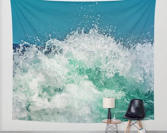 Ocean Waves Tapestry, Nautical Tapestry, Coastal Large Wall Decor, Surf Photo, Dorm, Office, Aqua Blue Wall Art, Nature Tapestry, Beach