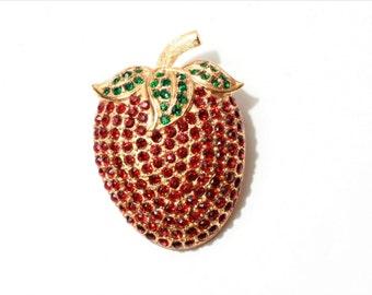 Vintage Czech figural strawberry pin brooch red green glass rhinestones 348-56