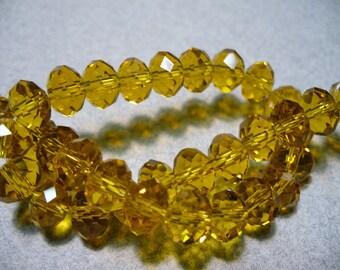 Crystal Beads Faceted Desert Gold  Rondelles 8x5mm
