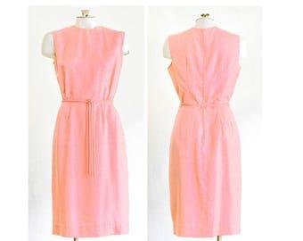 1960s pink silk sleeveless sheath dress with belt