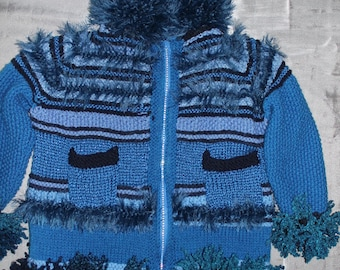 hand-knitted coat, fantasy, blue, 5 years old
