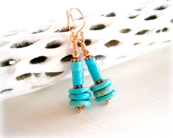 Simple Copper and Natural Turquoise Earrings Beaded Dangle Featuring Stacked Genuine Turquoise and Copper Beads-Cowgirl Southwest Jewelry