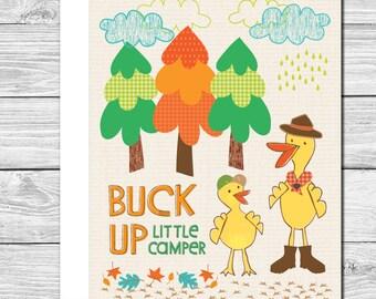 Buck up little camper! Hand drawn encouragement card