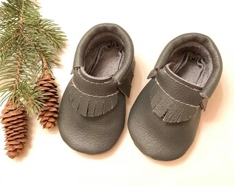 Baby Moccasins, Slate Gray Moccasins, Gray Baby Moccasins, Slate Gray Leather Moccasins, Baby shoes, Toddler shoes