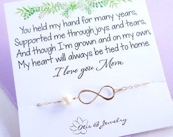 Mother of the bride gift, mothers day gift, infinity NECKLACE, sterling silver, pearl necklace, mother in law, mother of the groom gift