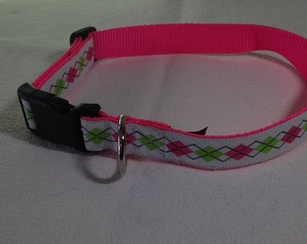 """Beautiful Jacquard Ribbon Collar, White Lime Pink Argyle, 1 inch wide and adjustable 15"""" to 24"""""""