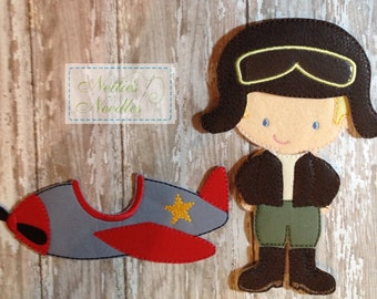 Into The Wild Blue Yonder: Felt  Doll Aviator Outfit and Airplane