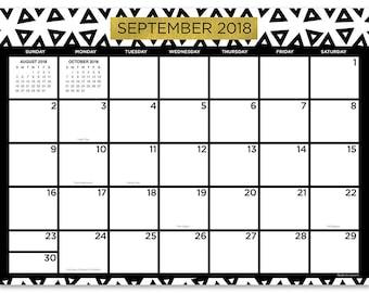 July 2018 - June 2019  Black White and Gold Mini Desk Pad Calendar