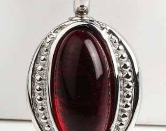 Oval Pendant With Deep Red Stone Cremation Pendant (Chain Sold Separately)