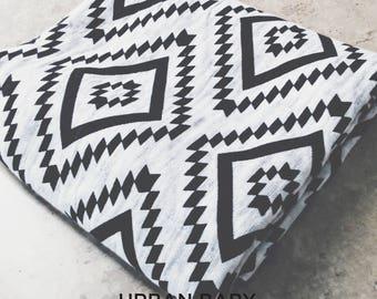 Organic Cotton Swaddle Blanket, Muslin Swaddle, Infant Blanket, Burp Cloth, Tummy Time Blanket, Changing Cover, Aztec, Black & White Swaddle