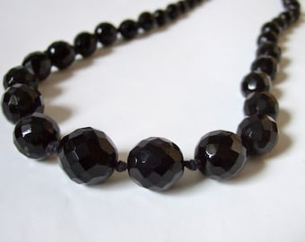 French Jet Bead Necklace - Graduated Black Faceted Glass Beads - Long Flapper Necklace