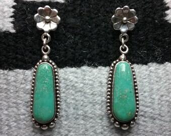Green Turquoise Flower Dangle Earrings - Southwestern Earrings - Native American Earrings - Navajo Earrings - Sterling Silver - Blossom