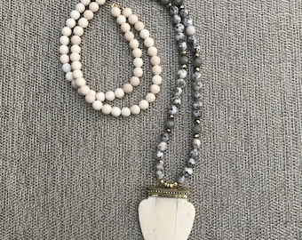 Jasper and White Long Beaded Necklace