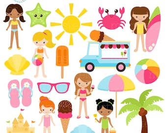 Girls Beach Clipart Set - sandcastle, summer, ice cream, holiday, clip art set, beach - personal use, small commercial use, instant download