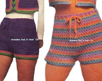 Crochet Shorts Pattern - PDF Instant Download - HIPPIE Pants - Gym Shorts - Digital Pattern - Workout Shorts - Hip Hugger Hot Pants