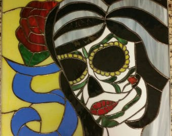 Stained Glass Sugar Skull Handmade