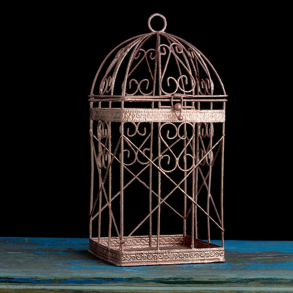 Rose gold bird cage wedding decor pink candle