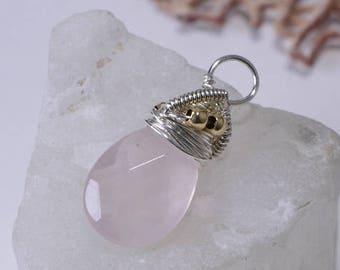Rose Quartz Pendant Handmade Rose Quartz jewelry Rose Quartz Jewelry Wire Wrapped Jewelry