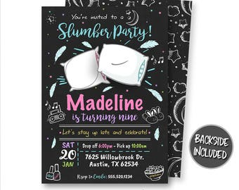 Slumber Party Invitation, Sleepover Invitation, Pajamas Invitation, Sleepover Party, Slumber Party, Printables, Personalized, Pillow Fight