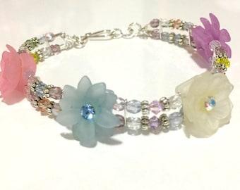 Pastel Double Strand Swarovski Crystal, & Czech Glass Bracelet / Crystal Bracelet / Pastel Bracelet / Pink Bracelet / Light Blue Bracelet