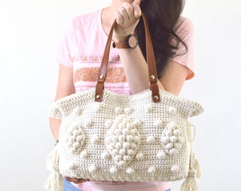 Gerard Darel Dublin 24 Hour Inspired Crochet Handbag with Genuine Leather Handles, Crochet purse, Boho Style Bag, Summer Bag