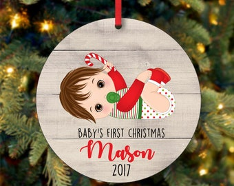 Brown Hair Baby Boy First Christmas Ornament, Personalized Christmas Ornament, Custom Ornament, Brunette Baby Boy Christmas Ornament (0092)