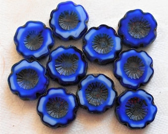 Lot of six 14mm table cut, carved,opaque milky, marbled blue & white picasso Hawaiian Czech glass flower beads C9606