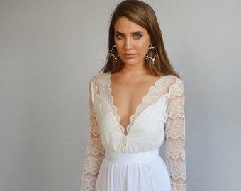 Bohemian wedding dress, Boho wedding dress, Lace wedding dress, Lace gown, Romantic wedding dress, Long sleeves wedding dress, Deep V neck