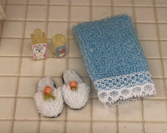 Miniature Bathroom Set, Blue Towel, White Slippers and Lotion Bottles, Dollhouse Miniatures, 1:12 Scale, Dollhouse Bathroom Accessories