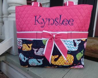 Baby Girl Diaper Bag/Monogram Diaper Bag/ Pink Seersucker Diaper Bag