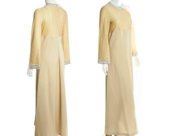 Vintage gold maxi dress -- retro floor length dress -- 1960s / 70s boho dress -- sparkly disco dress -- size small / medium / large
