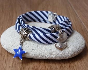 """Collection """"Sea side"""" - striped nautical Bracelet anchor charm and Star"""