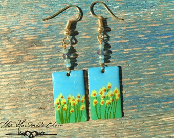 Hand Painted Earrings with hypoallergenic Wire.