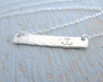 Anchor Necklace, Silver Anchor Necklace, Anchor Bar Necklace, Stamped Anchor Necklace, Silver Anchor, Beach Jewelry