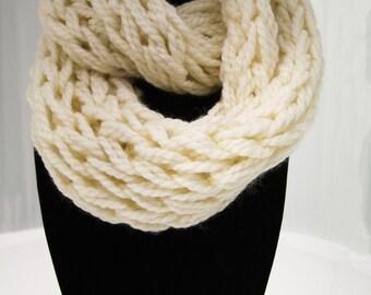 White Arm Knit Infinity Scarf